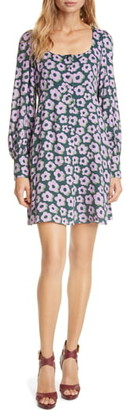 Kate Spade Flair Floral Long Sleeve Minidress