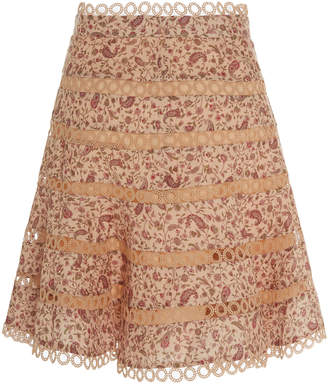 Zimmermann Juniper Paisley-Print Flared Linen Skirt