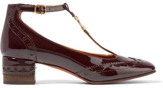 Chloé Perry Patent-leather Mary Jane Pumps - Merlot