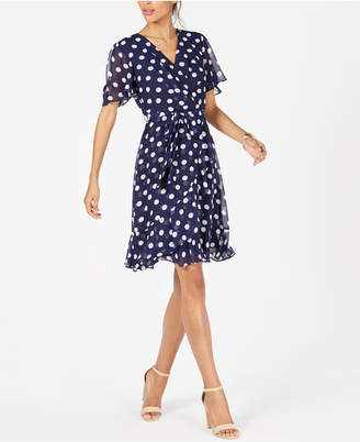 Jessica Howard Petite Ruffled Polka-Dot Dress