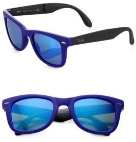 Ray-Ban Folding Round Rubber Wayfarer Sunglasses $150 thestylecure.com