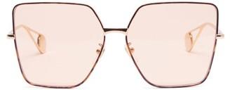 Gucci Oversized Square Tortoiseshell Acetate Sunglasses - Womens - Light Orange