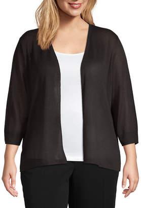 0e60e904e046 WORTHINGTON Worthington Womens 3 4 Sleeve Cardigan-Plus