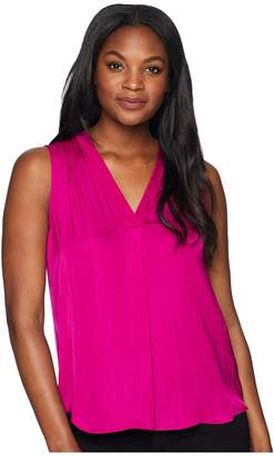Vince Camuto Sleeveless V-Neck Rumple Blouse Women's Clothing