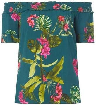 Dorothy Perkins Womens Dark Green Floral Bardot Top