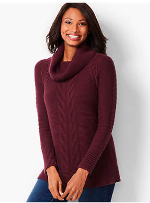 Talbots Cashmere Cable-Twist Cowlneck Sweater