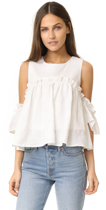 J.O.A. Layered Ruffle Cold Shoulder Top $70 thestylecure.com