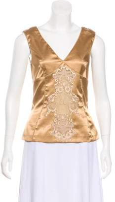 Dolce & Gabbana Mesh-Accented Satin Sleeveless Top