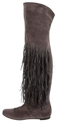 Casadei Fringe Over-The-Knee Boots