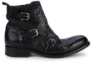 John Richmond Buckled Leather Ankle Boots
