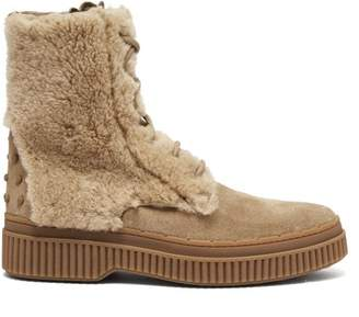Tod's Shearling And Suede Ankle Boots - Womens - Light Tan