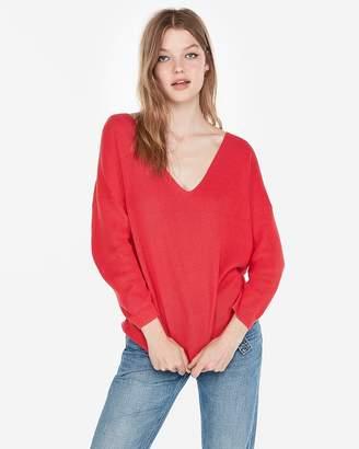 Express Cotton Shaker Knit V-Neck Sweater