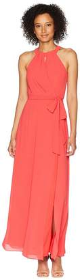 Vince Camuto Chiffon Surplice Maxi with Front Keyhole Women's Dress