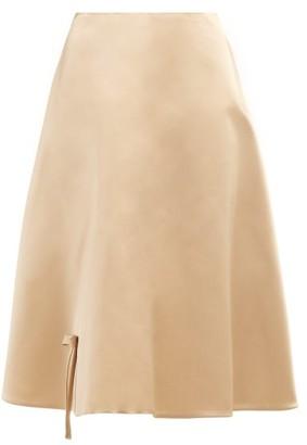 Prada Bow Applique Silk Satin Skirt - Womens - Beige