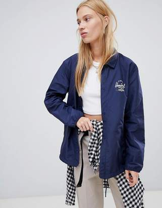 Herschel voyage packable coach jacket back logo print in navy
