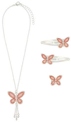 Monsoon Twinkle Gem Butterfly Necklace, Click Clack & Ring Set