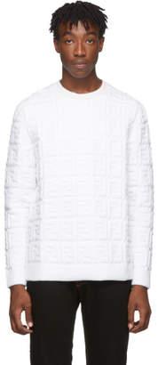 Fendi White Embossed Wool Forever Sweater
