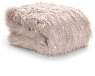 Camilla And Marc Catherine Lansfield Metallic Faux Fur Throw, Blush, 130 x 170 Cm
