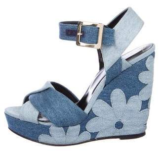 Roger Vivier Denim Platform Wedges