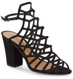 Schutz Oberlyn Suede Strappy Block Heel Sandals