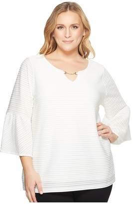 Calvin Klein Plus Plus Size Ottoman Flutter Sleeve Top with Hardware Women's Long Sleeve Pullover