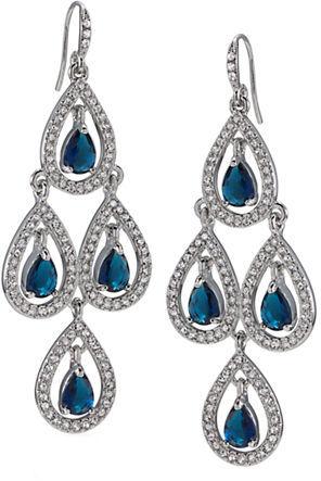 Carolee Blue Crystal Chandelier Earrings
