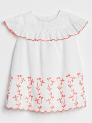 Gap Ruffle Embroidery Dress