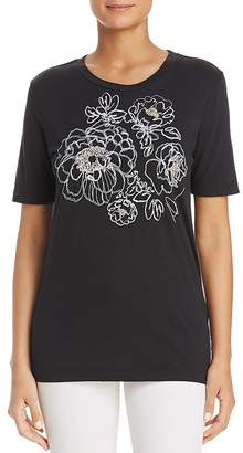 Donna Karan Beaded Floral Embroidered Top
