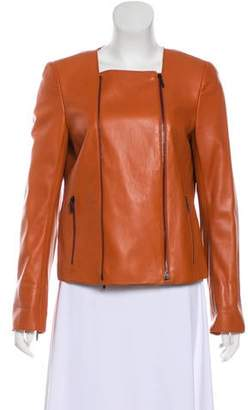 Akris Leather Zip-Up Jacket
