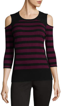 BY AND BY by&by 3/4 Sleeve Round Neck Stripe Pullover Sweater-Juniors