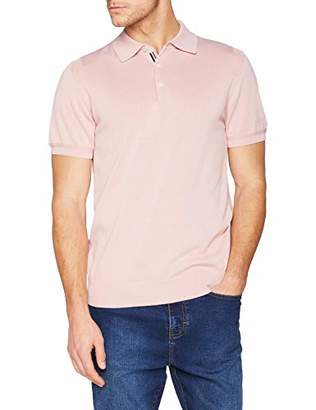 Ben Sherman Men's Core Short Sleeve Knitted Polo Shirt, (Light Pink), Small (Size: S)