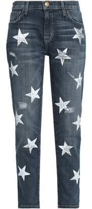 Current/Elliott Distressed Printed High-rise Slim-leg Jeans