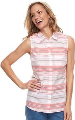 Croft & Barrow Women's Print Sleevless Button-Front Shirt