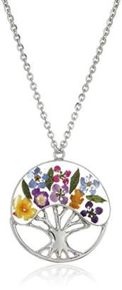 Sterling Silver -Pastel Pressed Flower Tree of Life Pendant Necklace