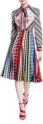 Mary Katrantzou Tie-Neck Airmail-Print Midi Dress