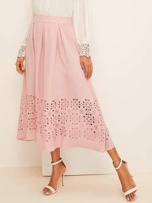 68226f3cd Shein Wide Band Waist Laser Cut Pleated Skirt