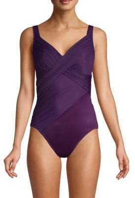 New Revelations Revele Solid Knotted-Front One-Piece