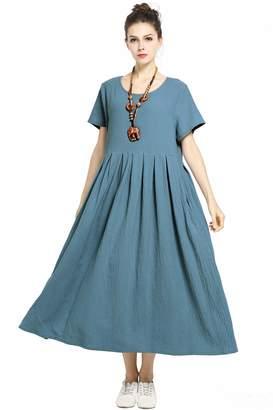 74e409294d94 Anysize Soft Linen Cotton Loose Dress Plus Size Dress Spring Summer Dress  F122A