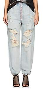 Alexander Wang Denim x Women's Distressed Denim Jogger Pants - Lt. Blue