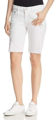 AG Jeans Nikki Denim Bermuda Shorts in 1 Year White Mended