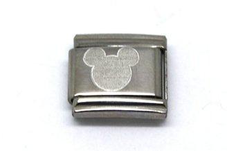 Disney (ディズニー) - Rare抽象Walt Disneyコレクションミッキーマウスアイコンステンレススチール9 mmイタリアチャームブレスレットリンク