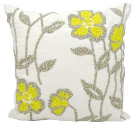 Nourison Indoor/Outdoor Green Frog Pillow, White, 12