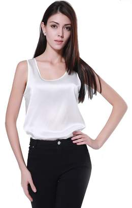 Mulberry OpenHappiness Women Vest/Tank/Top/SleevelessBlouse 100% Silk Satin Plain (2XL, )
