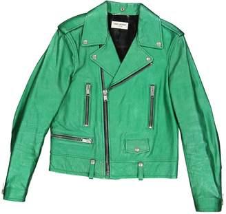 Saint Laurent Green Leather Jackets