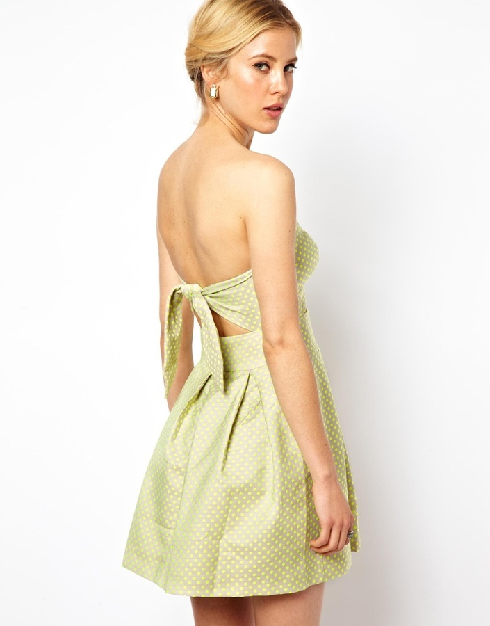 Asos Exclusive Skater Dress In Neon Spot And Cut Out Tie Back