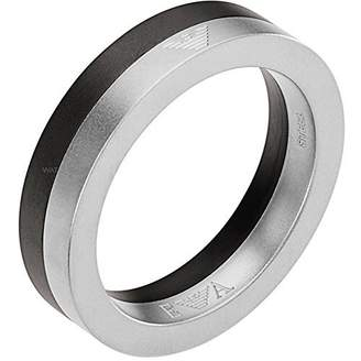 Emporio Armani EGS2130 Black ION-Plated Two Tone Steel Architectural Ring, Size 10, in Gift Box