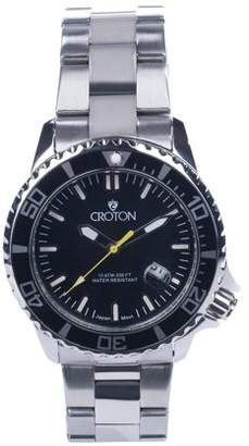Croton Men's Stainless Bracelet Watch with Yellow Second Hand & Coordinated Markers