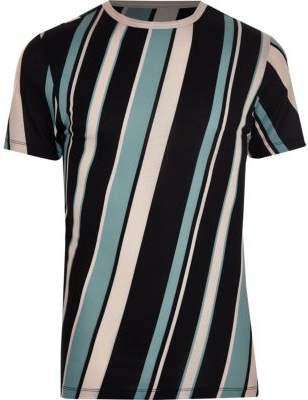 River Island Black diagonal stripe crew neck T-shirt