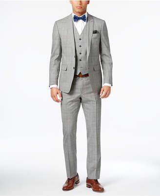 Tallia Men's Slim-Fit Black/White Glen Plaid Vested Suit $695 thestylecure.com