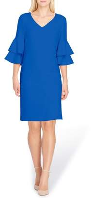 Tahari Ruffle Sleeve Shift Dress
